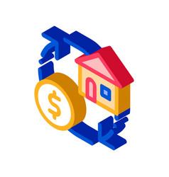 Sign exchange money on house isometric icon vector