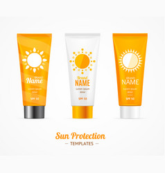 Sun protection cosmetic cream template set vector