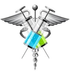Syringe with medicine vector
