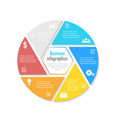 template for circle diagram options web design vector image