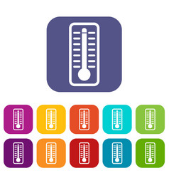 thermometer indicates high temperature icons set vector image