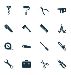 Tools icons set with spanner paint vector