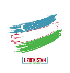 Uzbekistan independence day country flag in brush vector