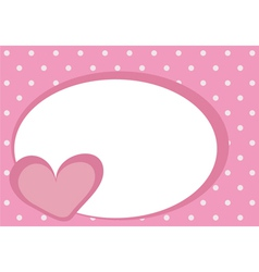 Valentines card with pink heart and polka dots vector