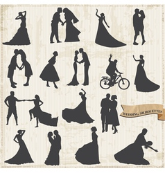 Vintage Wedding Silhouettes - Bride and Groom vector