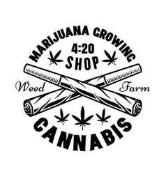weed joints emblem for marijuana growing vector image