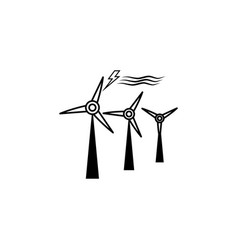 wind turbine icon black on white background vector image