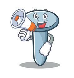 with megaphone nail character cartoon style vector image vector image