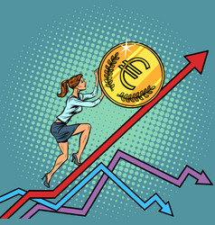 Woman businesswoman roll a euro coin up vector