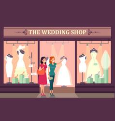 woman choosing dress and shoes at wedding shop vector image