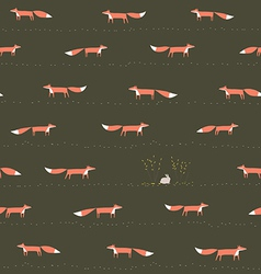 Wood fox and hare seamless pattern vector image
