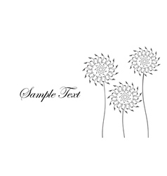 Card with abstract flowers dandelions Black and wh vector image