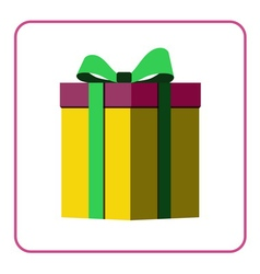 Colorful wrapped gift box icon yellow vector