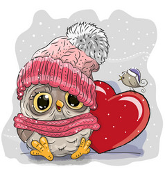 cute cartoon owl in a knitted cap vector image vector image
