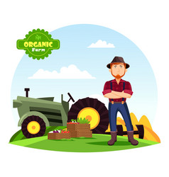 farmer near vegetables on farm and tractor vector image vector image