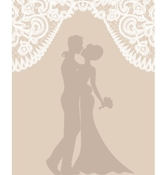 groom and bride on beige background vector image vector image