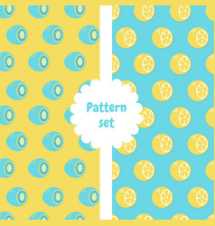 patterns set pattern with half of kiwi and half vector image vector image
