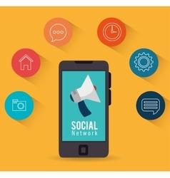 smartphone social network marketing vector image