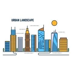Urban cityscape flat line design vector image