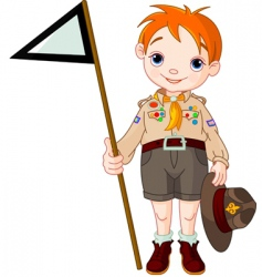 boy scout holding a flag vector image