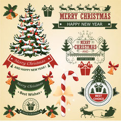 Christmas set of elements for design vector image