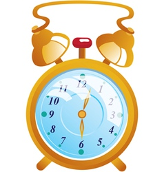Classic gold color alarm clock isolated on white vector image