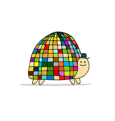 funny disco turtle sketch for your design vector image vector image