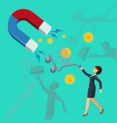 magnet attracts money cart with woman attracting vector image