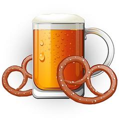 Mug of beer with pretzels Oktoberfest vector image vector image