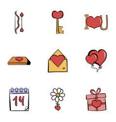 valentine day icons set cartoon style vector image vector image