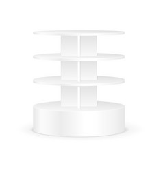 White Round Shelves Rack For Product Display vector image