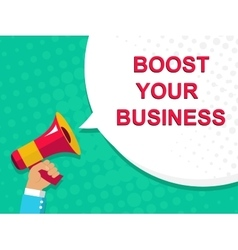 Megaphone with boost your business announcement vector
