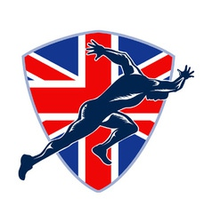 Runner Sprinter Start British Flag Shield vector image vector image