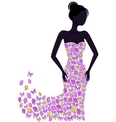silhouette of a girl in a flying apart dress vector image