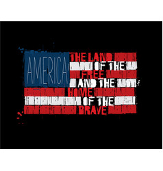american text flag - america land of the free vector image vector image
