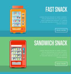 automatic vending machine flyers set vector image vector image