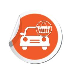 car with basket icon orange label vector image vector image