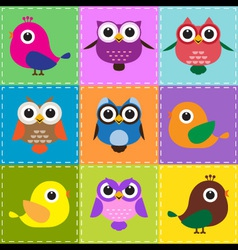 colorful patchwork background with owls and birds vector image vector image