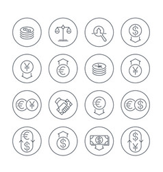 currency line icons set over white money transfer vector image vector image