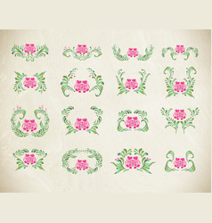 elegant pink ornament set vector image vector image
