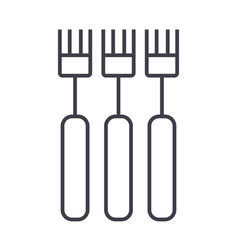 fork line icon sign on vector image vector image