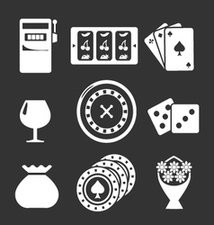 Set icons of casino vector image vector image