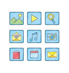 set smartphone technology media icon vector image