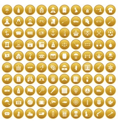 100 offence icons set gold vector image vector image