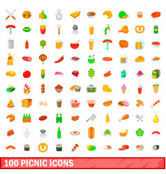 100 picnic icons set cartoon style vector image