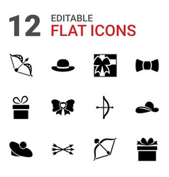 12 bow icons vector