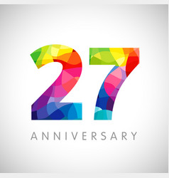 27 anniversary colorful facet logo vector