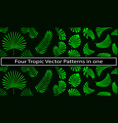 4 in 1 tropical and palm leaves elements as green vector image