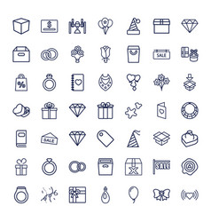 49 gift icons vector