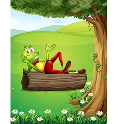 A frog relaxing above trunk under tree vector